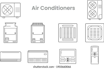 Icon Vector set of Air conditioners or HVAC Sign, Symbol, Line icon, VRF, Condensing, Fan coil, Air con and their remote controller