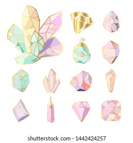 Icon vector set - colorful (blue, golden, pink, violet, rainbow) crystals or gems, on white background, symbols collection with gemstones, quartz, minerals, diamonds, hand drawn or doodle illustration