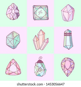 Icon vector set - colorful (blue, golden, pink, violet, rainbow) isolated crystals or gems, symbols collection with gemstones, quartz, minerals, diamonds, hand drawn or doodle illustration
