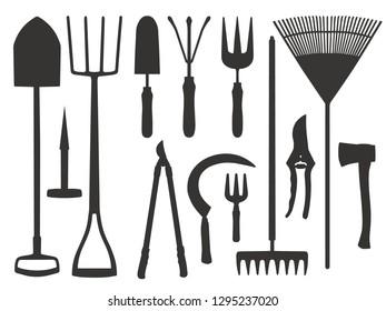 Icon vector set of different gardening tools like shovel, trovel, rake, scythe or dung fork