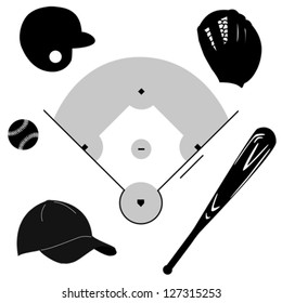 Icon vector set showing different baseball elements around a baseball diamond