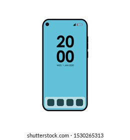 Icon Vector Smartphone Handphone Smartphone Display. No Outline Blue Fill. On White Background. Flat Icon For Web, Apps, Or Design Product.