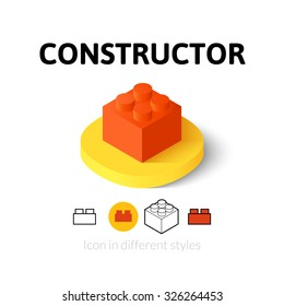 Constructor icon, vector symbol in flat, outline and isometric style