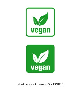 Icon for vegan food, Vegan vector icon. Square.