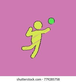 Icon of Vollyball on Color Background. Eps-10 in Hatching style