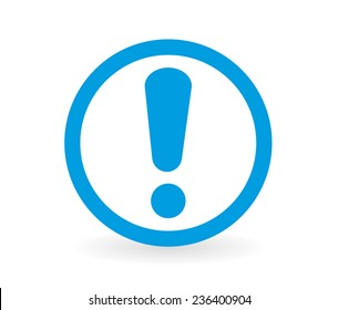 Icon of a warning sign in blue and white - Abstract vector image easy to change color.