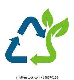 Icon for waste treatment that has good impact on the environment, good recycle.