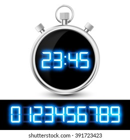 Icon watch with a digital display. Set of neon numbers. Stock vector illustration.