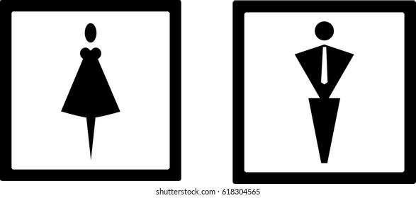 Icon. WC. Restroom. A man and a lady toilet sign and male and female symbols