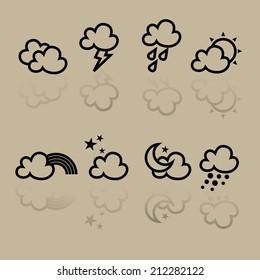 Icon Weather forecast icons set on creamy background