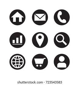 icon web in black circle, vector