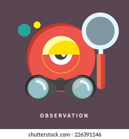 Icon with webcam, binoculars and magnifying glass for observation and monitoring in flat design