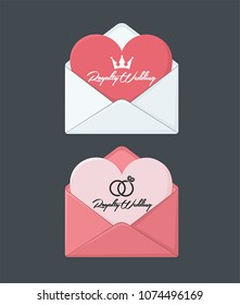 Icon A wedding envelope with an invitation in the form of a heart. On the card there is a crown, wedding rings and text: Royal Wedding.