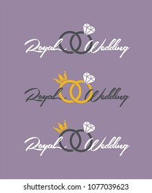 Icon wedding rings with crown and diamond. Text: Royal Wedding.