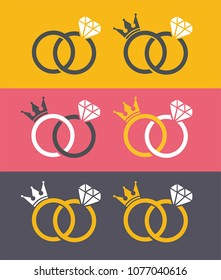 Icon wedding rings with crown and diamond