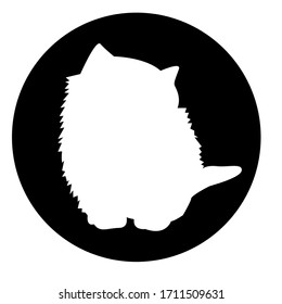 Icon white cat in black circle on white background. Cartoon kitten character. Stock vector illustration