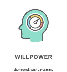 Icon willpower. The sensor shows the internal energy of a person and his ability to achieve high results. The thin contour lines with color fills.