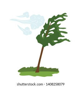 The icon of the wind that bends the green tree. concept of weather, tornado and other elements of nature. flat vector illustration isolated on white background
