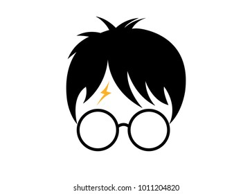 icon of a wizard boy with glasses, minimal portrait cartoon style, vector isolated