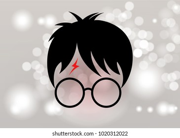 icon of a wizard boy with glasses, minimal portrait style, vector isolated or Blurry background circles