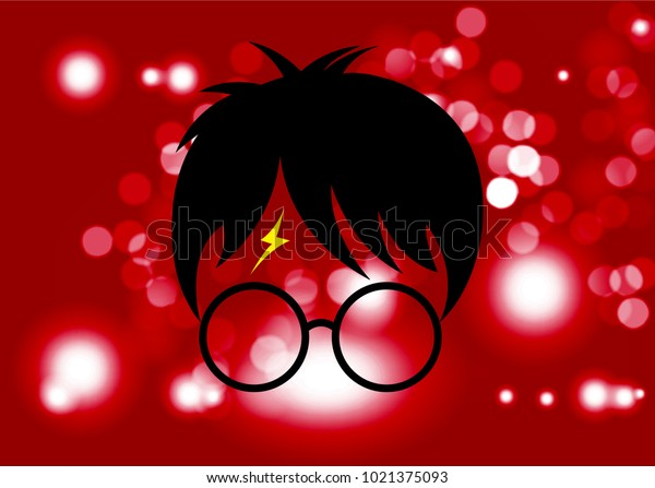 icon of a wizard boy with glasses, Potter style, vector isolated or red Blurry background circles