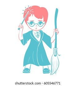 icon of a wizard boy with a magic wand and a broom . Icon in the linear style