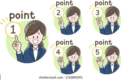 Icon of the woman  in a suit doing explanation  (Vector illustration set)