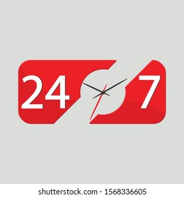 Icon of working hours 24 hours 7 days a week with the image of a clock hands isolated on a gray background. Vector illustration eps 10.
