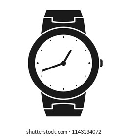 Icon of wrist watch. Symbol of hand clock. Illustration of timepiece, chronometer