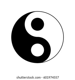 icon Yin-Yang, vector illustration. black and white outline.