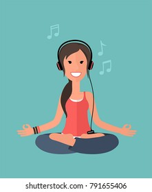 Icon yoga girl sitting in lotus pose. A woman meditates and listens to music on headphones.