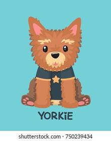 Icon of a Yorkshire Terrier dog. The puppy wears a T-shirt with a star