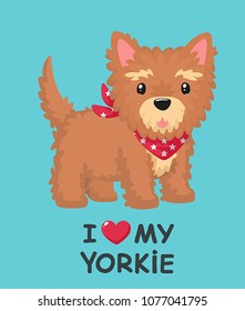 Icon of a Yorkshire Terrier dog. Text: I love the Yorkshire terrier.