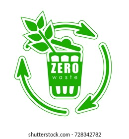 Icon zero waste, sign of recycling, recycling, eco life, eco-friendly garbage. Green sign, vector.