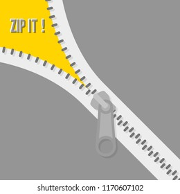 Icon zipper. Zippered lock and unlock. Closed and open zipper. Fastener. Zip it! Vector illustration