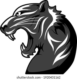 Iconic Black Cougar Vector isolated on White Background