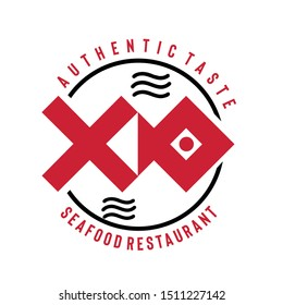 Iconic design of vector logo for seafood restaurant with banner and abstract shape of fish. Vector illustrations