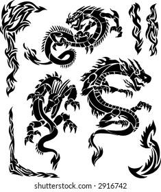 Iconic Dragons & Tribal Borders Vector Illustration