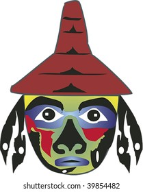 Iconic face with hat and earrings rendered in Northwest Coast Native style.