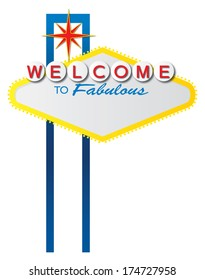 The iconic Las Vegas welcome sign, which is in the public domain, with a blank space for text.