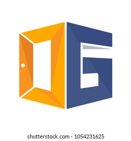 iconic logo with a combination of open door concept and initial letter O&G