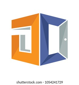 iconic logo with a combination of open door concept and initial letter D&C