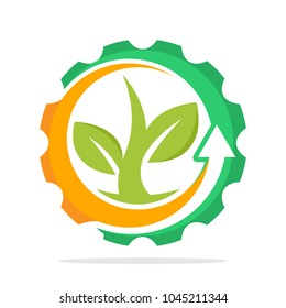 iconic logo with the concept of environmentally friendly industry, eco-friendly green technology