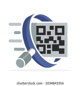 iconic logo with the concept of searching for qr-code label