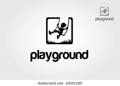 Iconic logo design of child silhouette sitting on swing.