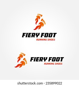 Iconic Logo design concept for running shoes sports wear fitness shop | vector illustration of fiery burning flaming footstep isolated on white background