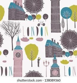 Iconic London seamless pattern