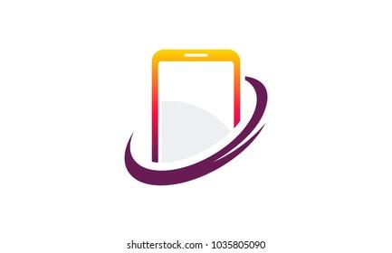 Iconic Phone Shield logo designs concept vector