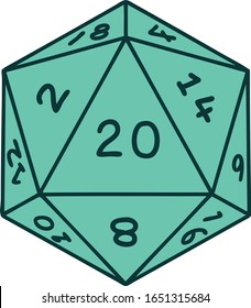 iconic tattoo style image of a d20 dice