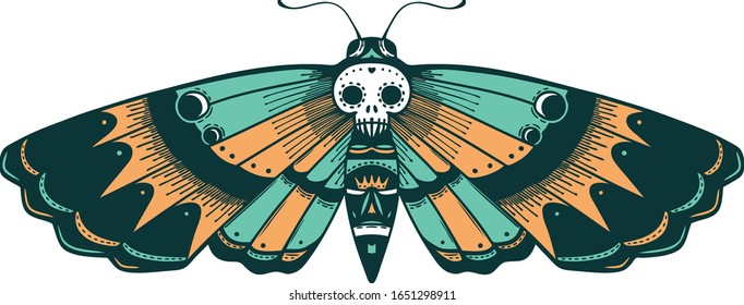 iconic tattoo style image of a deaths head moth